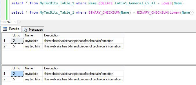 Searching Lowercase data in MS SQL Server – J talks – Learn