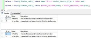 SQL Server Case-Sensitive Search